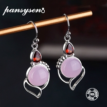 PANSYSEN Womens Wedding Engagement Earrings Solid 925 Sterling Silver Rose Quartz Drop Wholesale Fine Jewlery Gifts