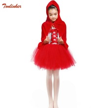 Kids Little Red Riding hood dress costume for toddlers girls cosplay princess Halloween clothing party fancy