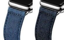 URVOIสำหรับApple Watch Series 6 SE 5 4 3 2 1สายคล้องคอสำหรับIwatchผ้าใบคลาสสิกหัวเข็มขัดสีน้ำเงินเข้มDenim Jean 40 44มม.