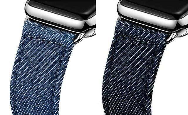 URVOI ремешок для apple watch series 4 3 2 1 ремень для iwatch холст с классической пряжкой темно-синий деним Жан 38 42 мм