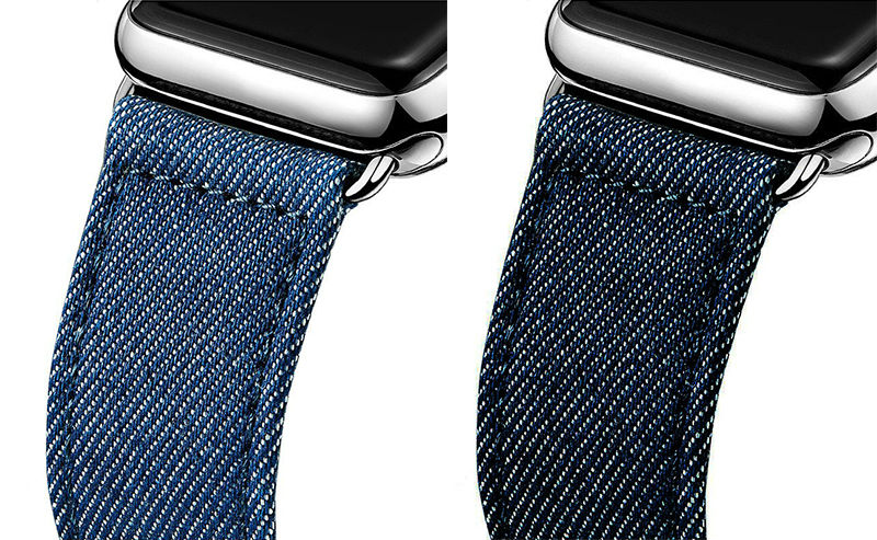URVOI band for apple watch series 1 2 3 strap belt for iwatch canvas with classic buckle modern style dark denim blue jean цена и фото