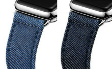 URVOI band for apple watch series 6 SE 5 4 3 2 1 strap belt for iwatch canvas with classic buckle dark denim blue jean 40 44mm