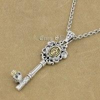 925 Sterling Argent Vierge Marie Crâne Clé Charme Pendentif 9R017 Argent Collier 24 pouce