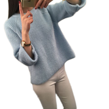 Female 2017 Autumn Winter Fashion New Sweater Women Solid color Round collar Loose Sweater Pullover knitted Women Sweater ly0333