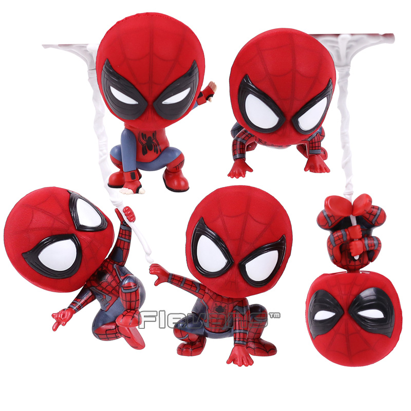 Marvel Spider Man Homecoming The Spiderman Q Version Mini PVC Figures Toys Car Home Decoration Doll 5 Styles цена