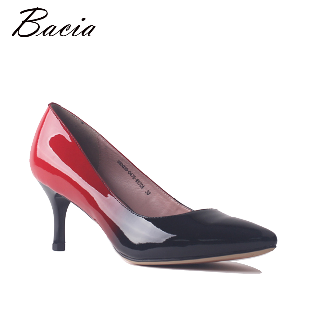 Bacia Women Genuine Leather 6.3cm High Heels Red&Black Gradient Pointed Toe patent Leather Pumps Summer Fall Casual Shoes SA098