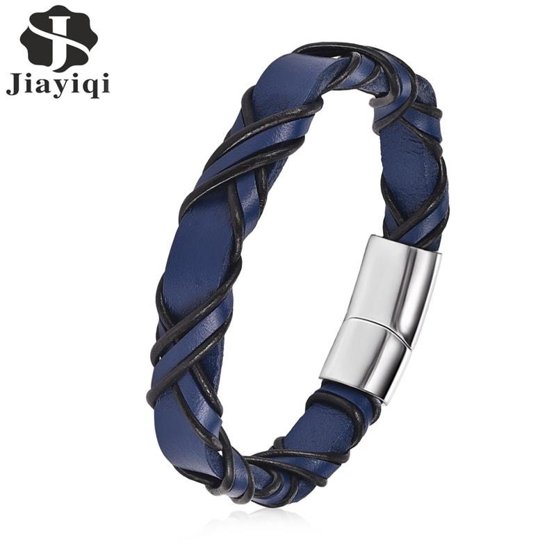 Jiayiqi Punk Men Jewelry Leather Bracelet Blue Black Cord Stainless Steel Magnetic Clasp Fashion Bangle jiayiqi fashion multilayer genuine leather bracelet for men jewelry stainless steel bangle punk braid black brown chain magnetic