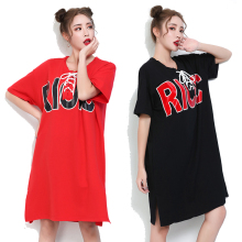 Summer Dress 2017 New T Tshirt Dress Black Color European Style Large Sizes Hot Sale Ladies Dresses Fashion Red For Women Loose