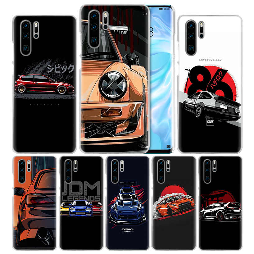 Cool Sports Car Comic Case for Huawei P20 P30 P Smart 2019 Nova 4 3i P10 P9 P8 Mate 10 20 lite Pro Mini 2017 Hard PC Phone Cover