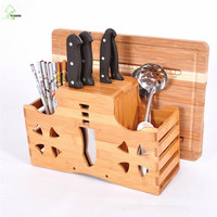 YI HONG Multifunction Bamboo Knife Rack Chopping Blocks Fork Kitchen Knife Block Stand Wood Knife Holder Creative A1171c