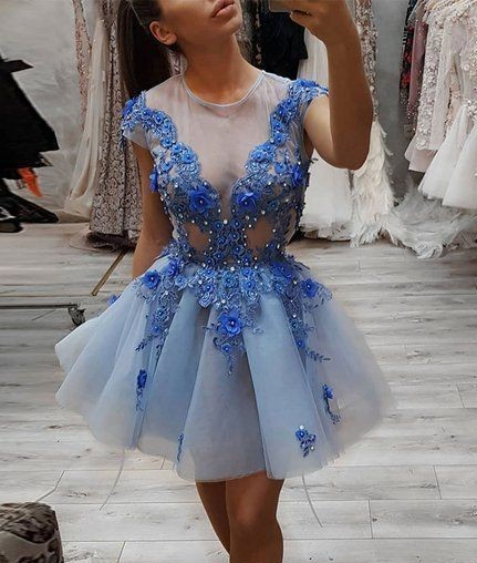 Plus Size Blue Short Evening Prom Dress 2019  Cocktail Dresses
