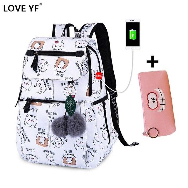 Девушка рюкзаки Водонепроницаемый зарядка через usb Студент Ноутбук Школьные сумки Для женщин мода путешествия рюкзак mochilas para jovenes