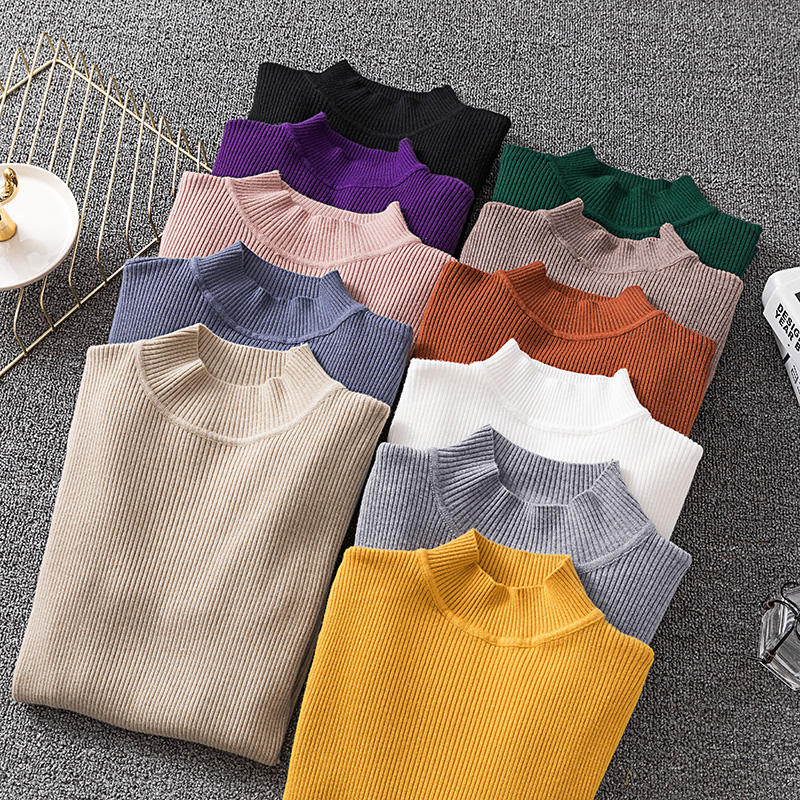 Sweater Women High Neck Knitted Pullover Sweater 2019 Autumn Winter Clothes Women Solid Casual Slim Basic Knit Tops Pull Femme
