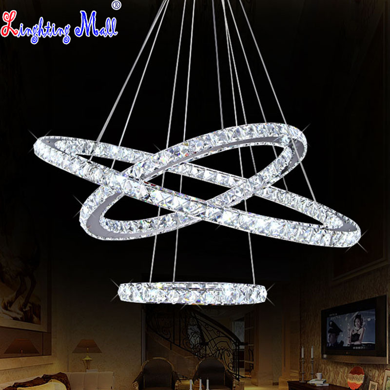 W k9 crystal chandelier led ceiling light fixture 3 rings for Diy led chandelier