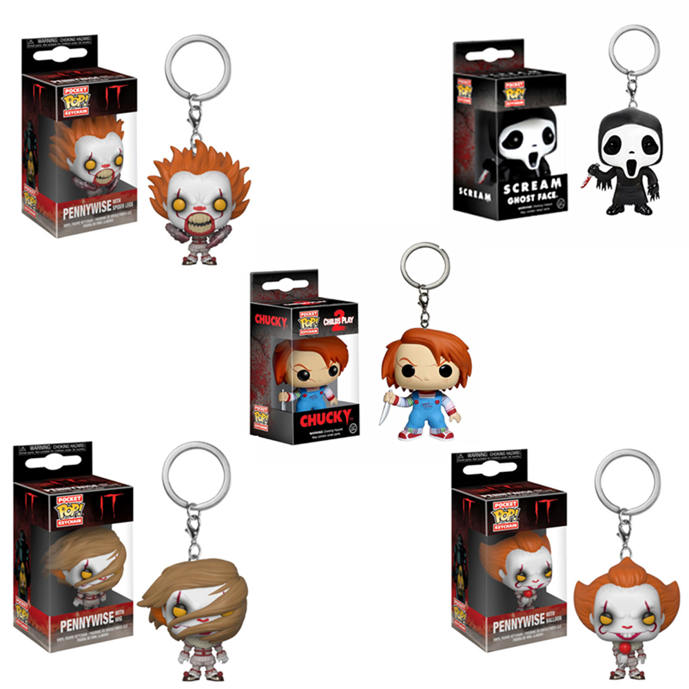 FUNKO POP IT Pennywise Scream Ghost Face Chucky Pocket Keychain Action Figures Collection Model Toys For Children Christmas Gift
