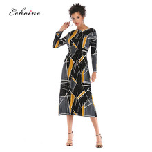 Echoine Party Dresses Women Evening O-Neck Color Block Pleat Multicolor Lace Up Long Maxi Chiffon Dress Boho High Street Clothes