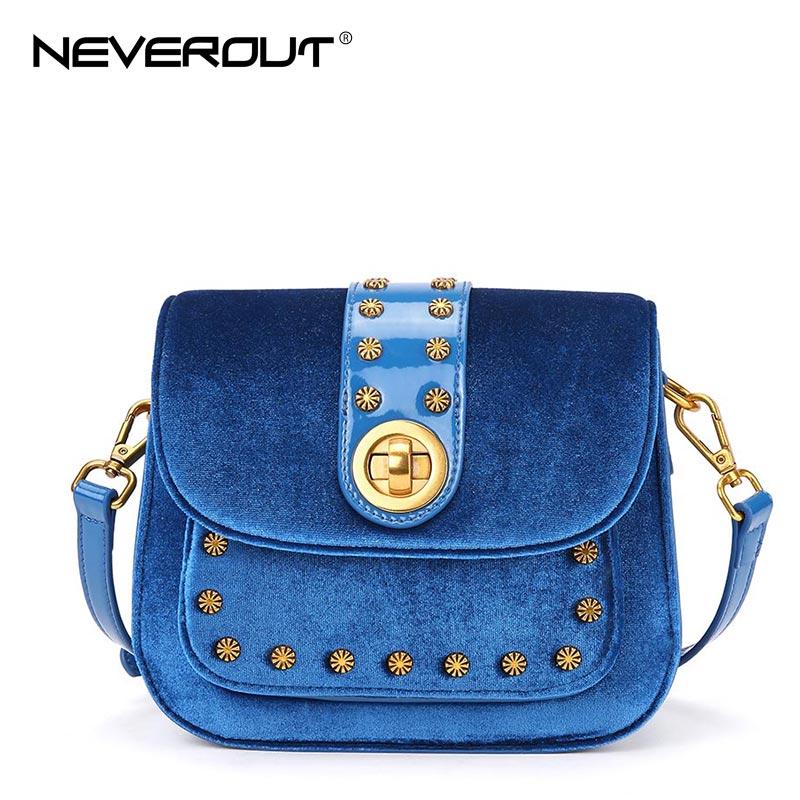 NeverOut 3 Color Velvet Bag for Women Solid Shoulder Sac Fashion Luxury Brand New Design Messenger Bags Rivet Crossbody Bag neverout brand name shoulder bag sac