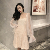 See Through Dress Mini Dress Mesh Lace Dress Short Lace Lantern Sleeve Elegant with Pearl Casual Sequin Dress