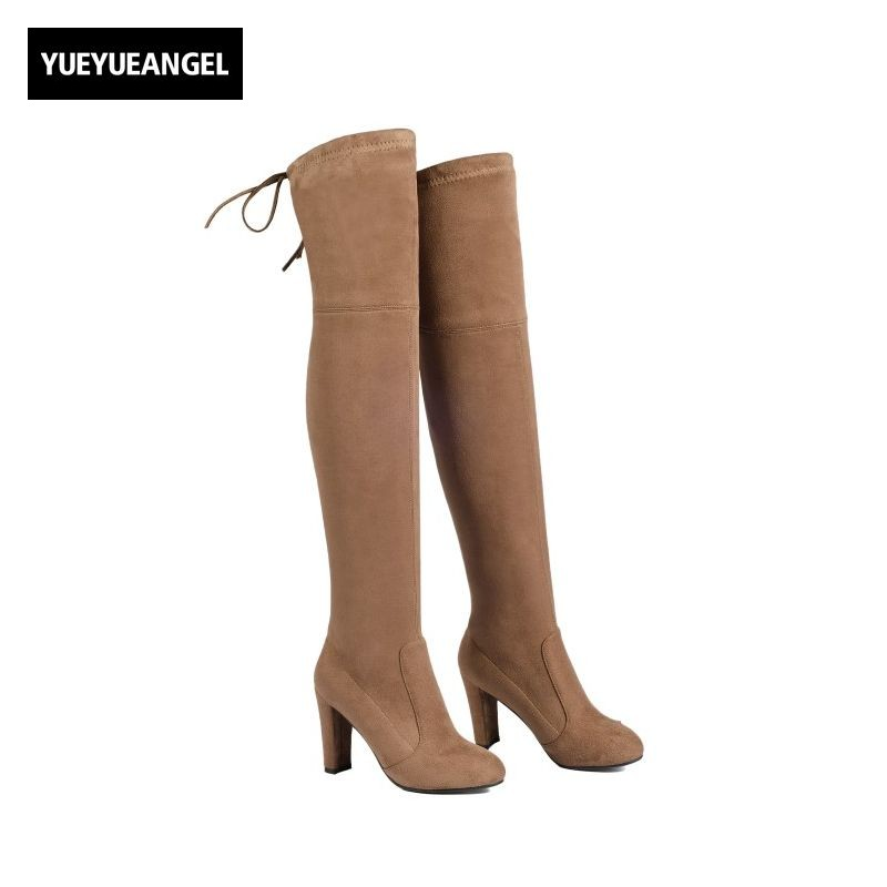 Thigh High Heel Womens Boots Over Knee Stretch Winter New Fashion Ladies Elegant Female Shoes Long Botas Femininas De Inverno women over the knee boots black velvet long boots ladies high heel boots sexy winter shoes chunky heel thigh high boots