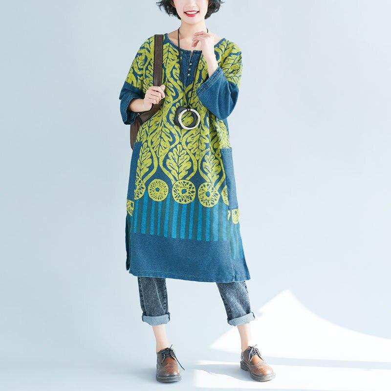 Del Blu Stile 2018 Femminile Modello Stampa Vestito Retro Più Stampato Nazionale Delle Donne Il Allentato Signore CTXqX