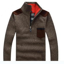 New Hot Men Sweater Autumn Winter Long Sleeve Mandarin Solid Collar Causual Fashion Clothes Pullovers Large Size Thick Warm Tops