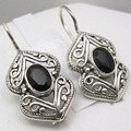 Solid Silver Real OVAL BLACK ONYX Gorgeous OLD STYLE Earrings 1 1/8 inches
