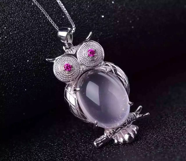 natural  rose quartz pendant S925 silver Natural pink crystal Pendant Necklace trendy Personality owl women Child party jewelry