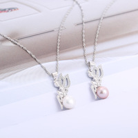 2019 Romantic 100% 925 Solid Sterling Silver Pearl Fairy Pendant Necklace Pure Silver Chain Women Fine Jewelry Engagement Party