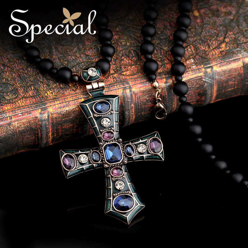 Special New Fashion Vintage Long Necklaces Vintage European Style Cross Maxi Necklace Enamel 2017 Gifts for Women XL150107