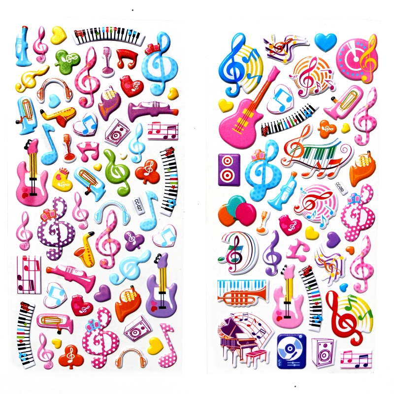 цена на 2 Sheets Cute music guitar piano Note cartoon Stickers Kids Toys 3D DIY Kawaii Diary Decoration Scrapbooking gift