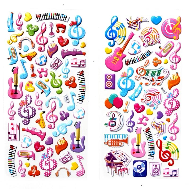 2Sheets Cute Music Guitar Piano Note Cartoon Stickers Kids Toys 3D DIY Kawaii Diary Decoration Scrapbooking Gift