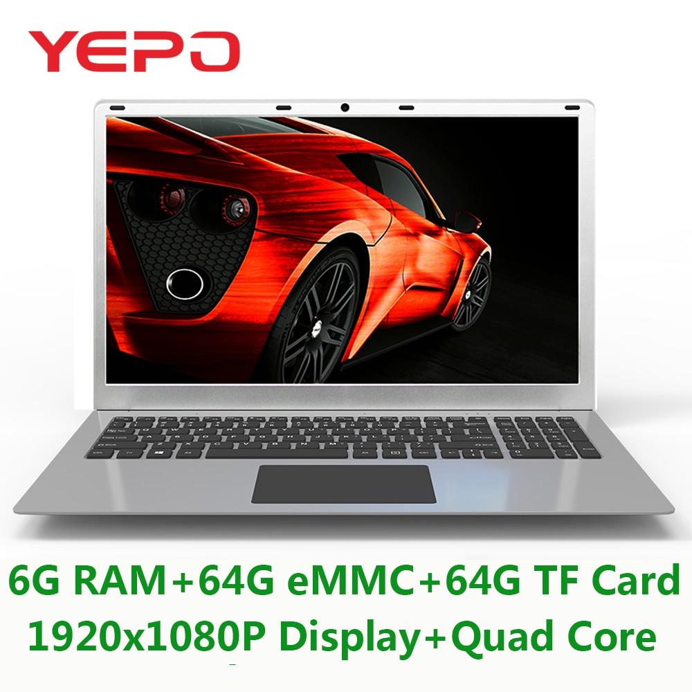 Yepo Portable 15.6 ''Avec 1920x1080 p Affichage Intel Quad Core Ordinateur Portable Avec 6g RAM 64g eMMC Et 64g TF Carte ROM Ultrabook Pour Jeu
