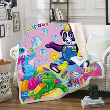 Plstar Cosmos Lisa and Frank Cartoon Blanket 3D print Sherpa on Bed Kids Girl Flower Home Textiles Dreamlike style-9
