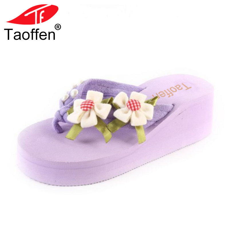 TAOFFEN Sweety Summer Beach Shoes Women Thick Paltform Wedges Slippers Women Flower Flip ...