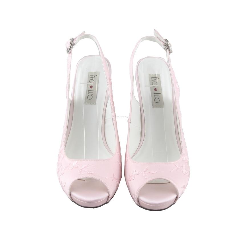 Aliexpress Chs774 Dhl Express Custom Handmade High Heel Slingbacks Light Pink Lace Bridal Wedding Shoes Women P Toe Dress Pumps From