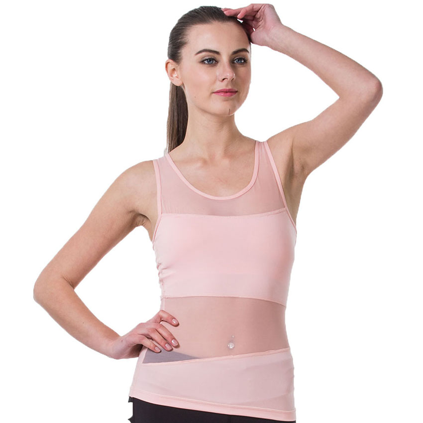 Sexy Mesh Splice Tank Tops Women Quick Dry Breathable Sleeveless T Shirt Fitness Yoga Running Workout Sports Vest with padding