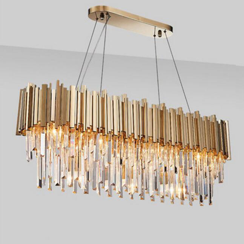 Lustre moderne de lampe en cristal de Manggic pour l'éclairage ovale de luxe rond de lustres de ligne d'acier inoxydable d'or