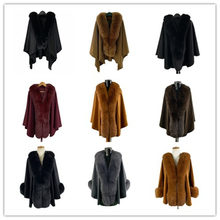 TOPFUR 2019 New Fashion Winter Female Cape Real Fur For Women Colourful Fox Outerwear Bat Sleeved V-Neck Long