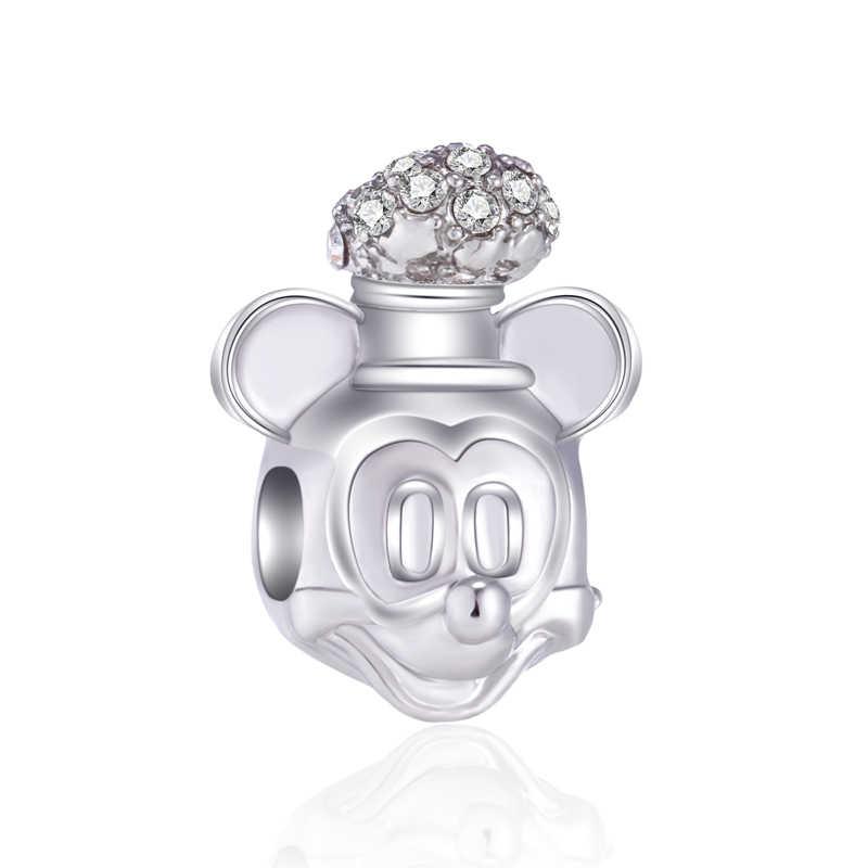ลูกปัดน่ารักลูกศรดอกไม้ใบ Evil Eye Mickey Mouse คริสตัล Charms Fit สร้อยข้อมือ Pandora และกำไลข้อมือผู้หญิง DIY bijoux