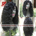 2017 New Arrivals 6A Grade Water Wave Synthetic Lace Front Wigs With Bangs Black Color Fiber Synthetic Wigs For Black Women