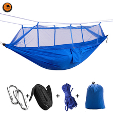 Double Person Hammockwith Mosquito Net Pure Blue Breathable 2 Person Outdoor Travel Hammock for Camping