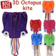 Outdoor Fun Sports Kite 5.5 m Octopus Shape Long Tails Large Beach Kites Kitesurf Pipas Voadores Children's Kids Toys #1665