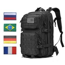 군사 전술 배낭 가방 남자 45L 대형 육군 전술 팩 팩 Molle 3P 폭행 공격 방수 야외 블랙 Bagpack