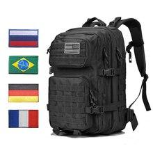 Mochila tática militar masculina, bolsa tática de 45l, exército grande, 3p, à prova d água, preta, de assalto pacote de bagagens