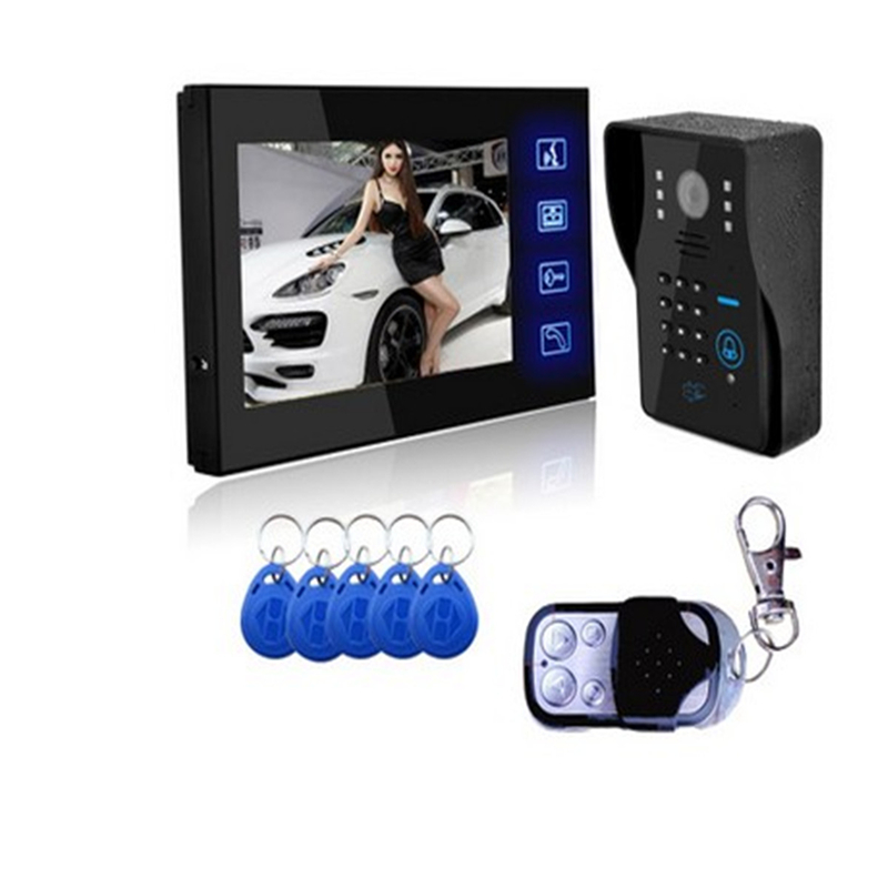 7 inch Color Screen Video Door Phone Intercom Access Control System Video Doorbell 700TVL Door Intercom Camera IR Night Vision