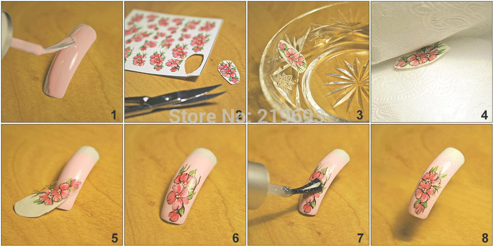 Artificial nail decoration 100 pieces lot A4 size transparent clear color water transfer laser water decal
