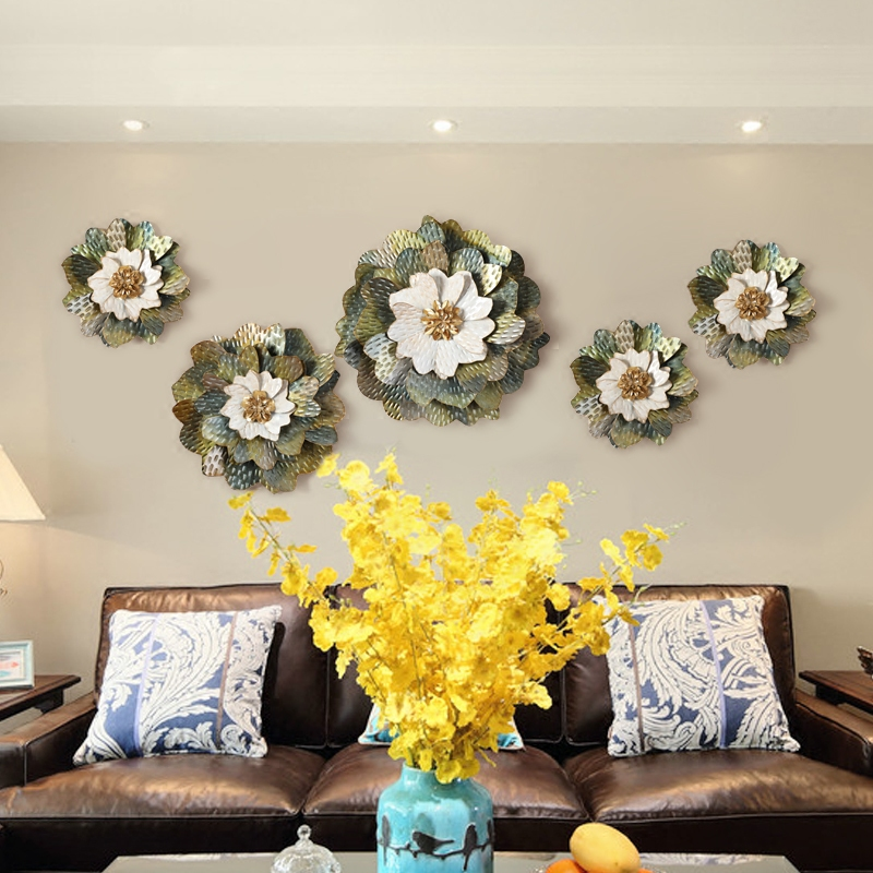 Europe Creative Iron Wall Hanging Artificial Flowers Crafts Decoration Wall Mural Decoration Restaurant Home Wall Ornaments Art