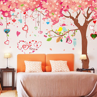 Extra Large Romantic Cherry Tree Wall Decal Loving Birds on Tree Branch Wall Sticker for Living Room TV Background Wedding Room