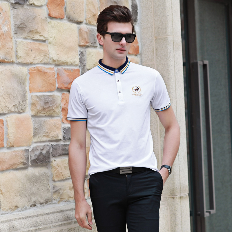 2018 Spring Summer Mens New Mens Short Sleeve T-Shirt Mens Youth Business Lapel Modal Solid ...