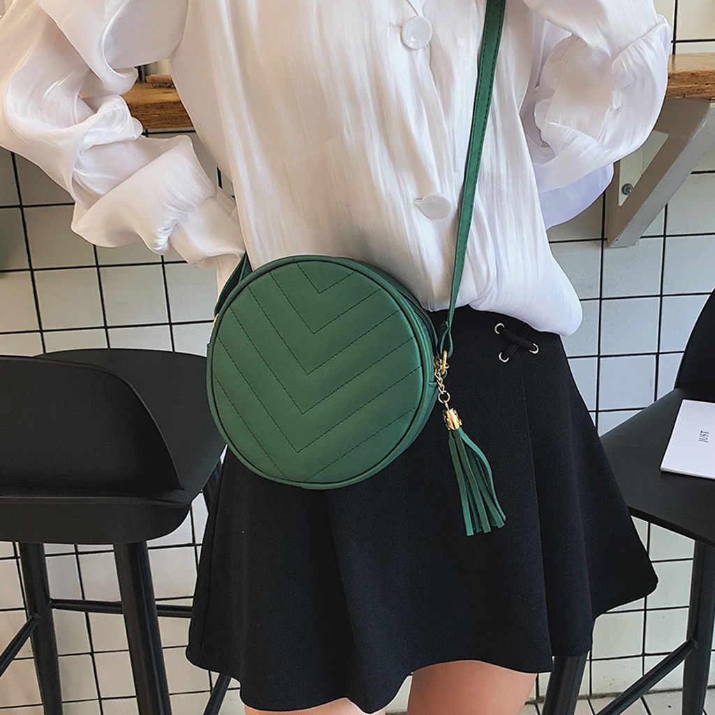 Mulheres Rodada verde Zipper Cor Sólida Borla Ombro Sacos Crossbody Para Marcas Famosas Bolsas Mensageiro Saco Do Telefone bolsas feminina